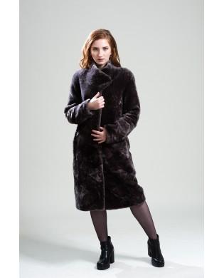 Пальто женское, модель: 01-19, мех: овчина,  цвет: коричневый