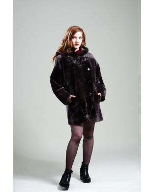 Полупальто женское, модель: 02-19, мех: овчина,  цвет: коричневый