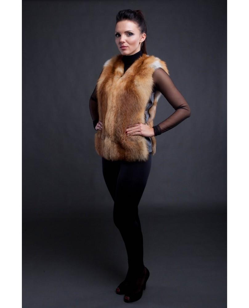 Жилет женский, модель: 03-15, мех: лисица,  цвет: рыжий