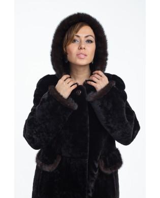 Пальто женское, модель: 05-18, мех: овчина,  цвет: коричневый