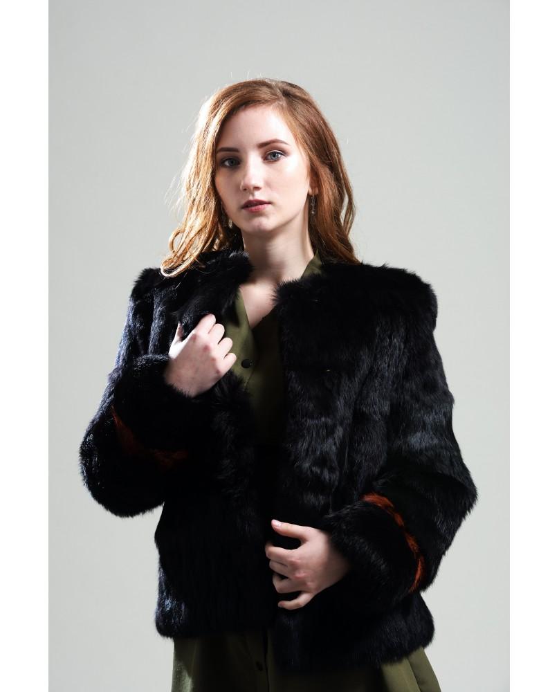 Жакет женский, модель: 06-19, мех: кролик,  цвет: чёрный