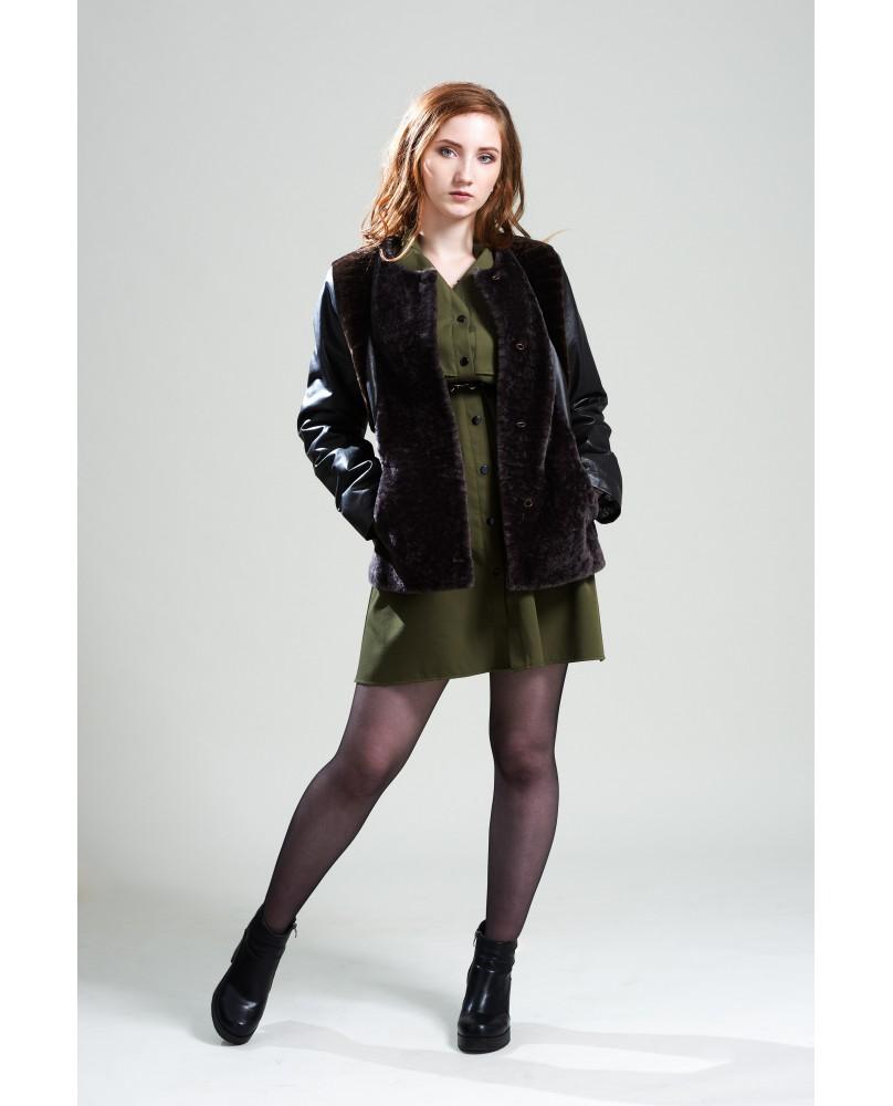 Жакет женский, модель: 08-19, мех: овчина,  цвет: бордово-коричневый