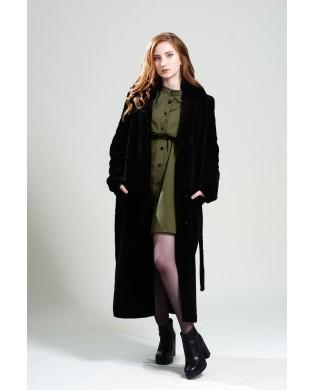 Пальто женское, модель: 14-19, мех: овчина,  цвет: коричневый
