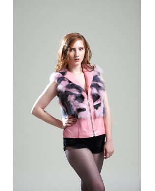 Жилет женский, модель: 16-18, мех: песец,  цвет: розово-серый