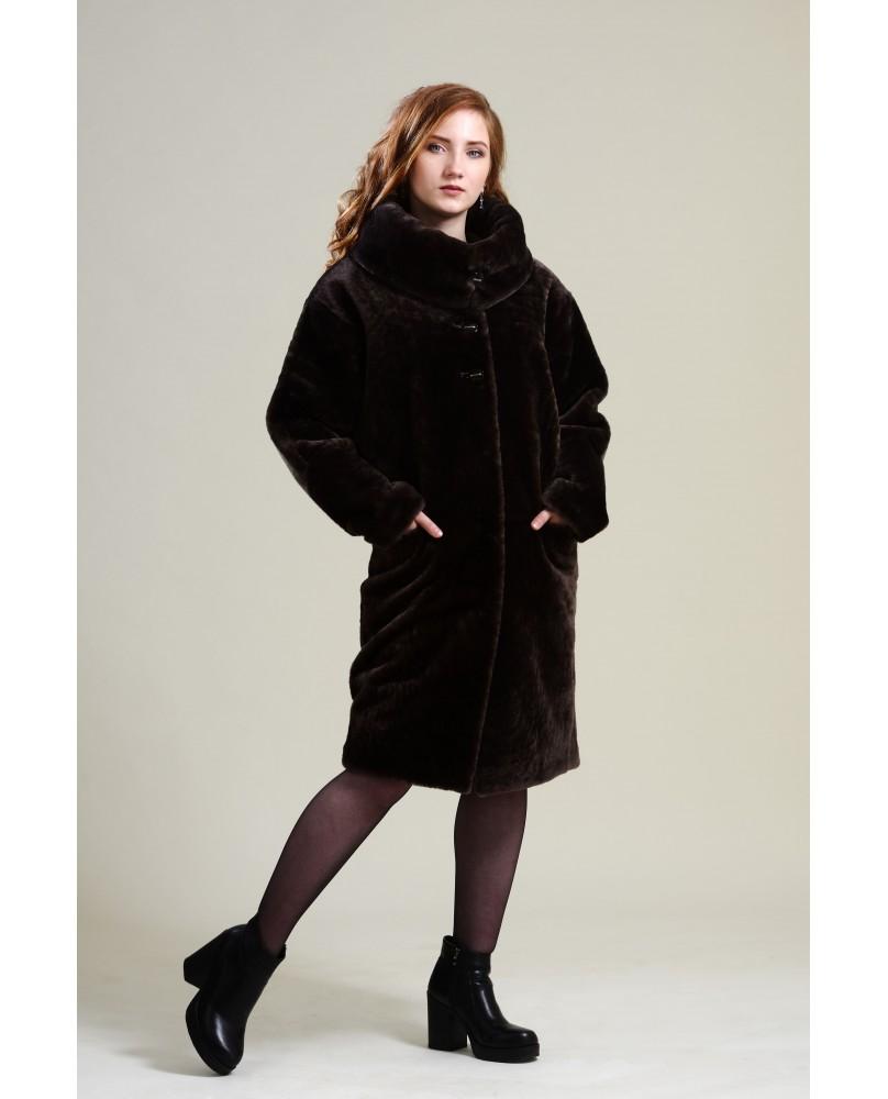 Пальто женское, модель: 16-19, мех: овчина,  цвет: коричневый