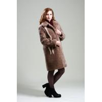 Пальто женское, модель: 19-19, мех: овчина,  цвет: коричневый