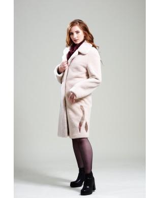 Пальто женское, модель: 19-19, мех: овчина,  цвет: кремовый