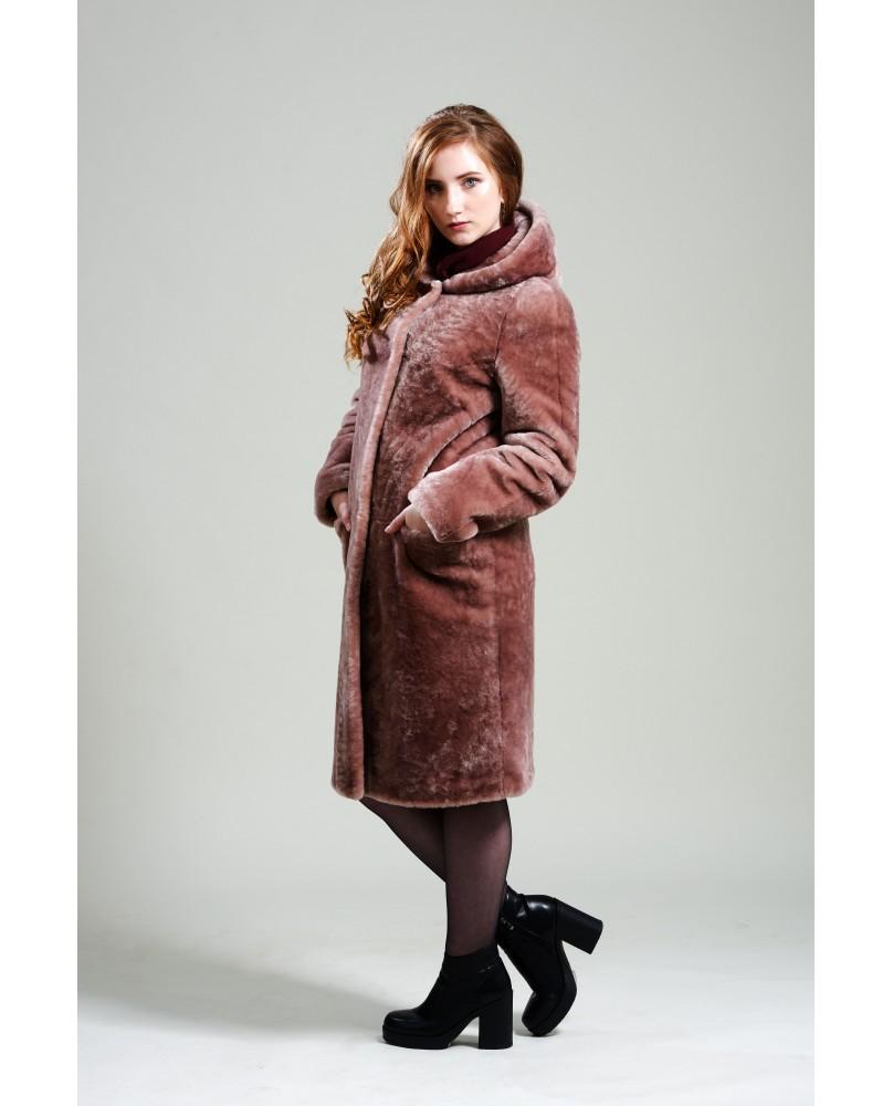 Пальто женское, модель: 20-19, мех: овчина,  цвет: розовый