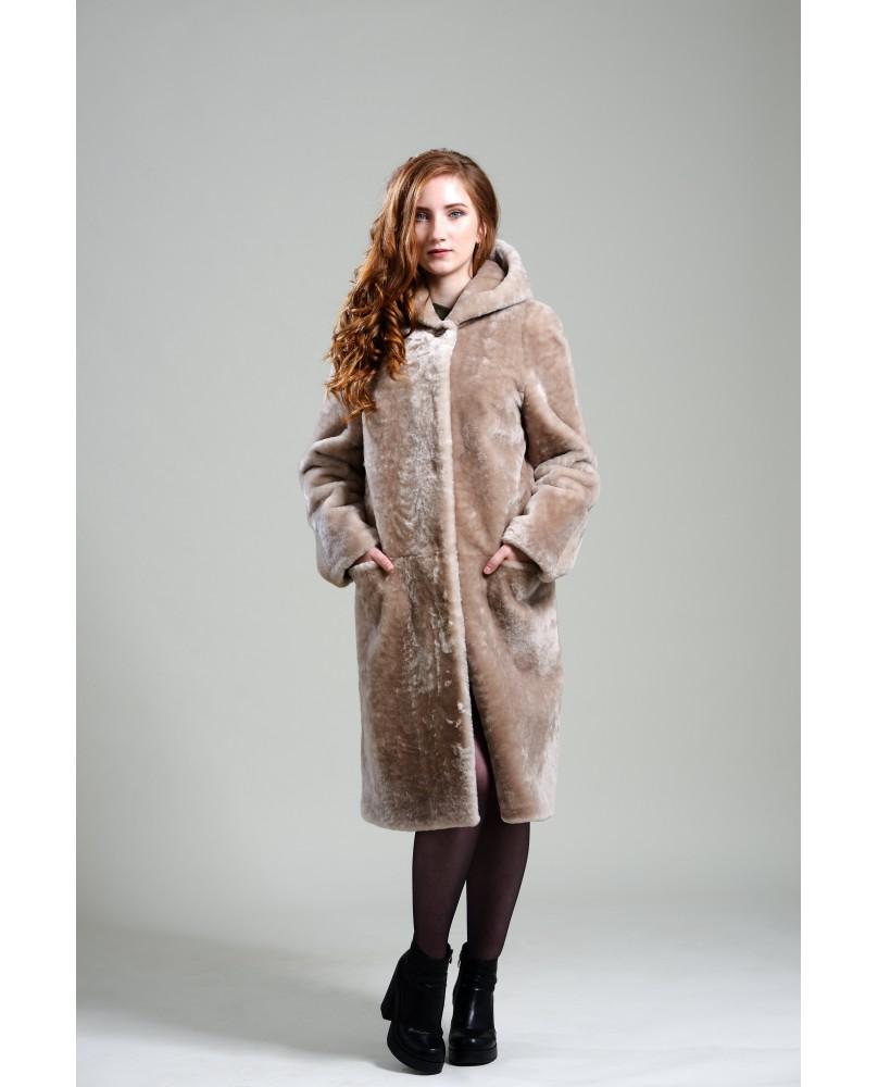 Пальто женское, модель: 20-19, мех: овчина,  цвет: бежевый