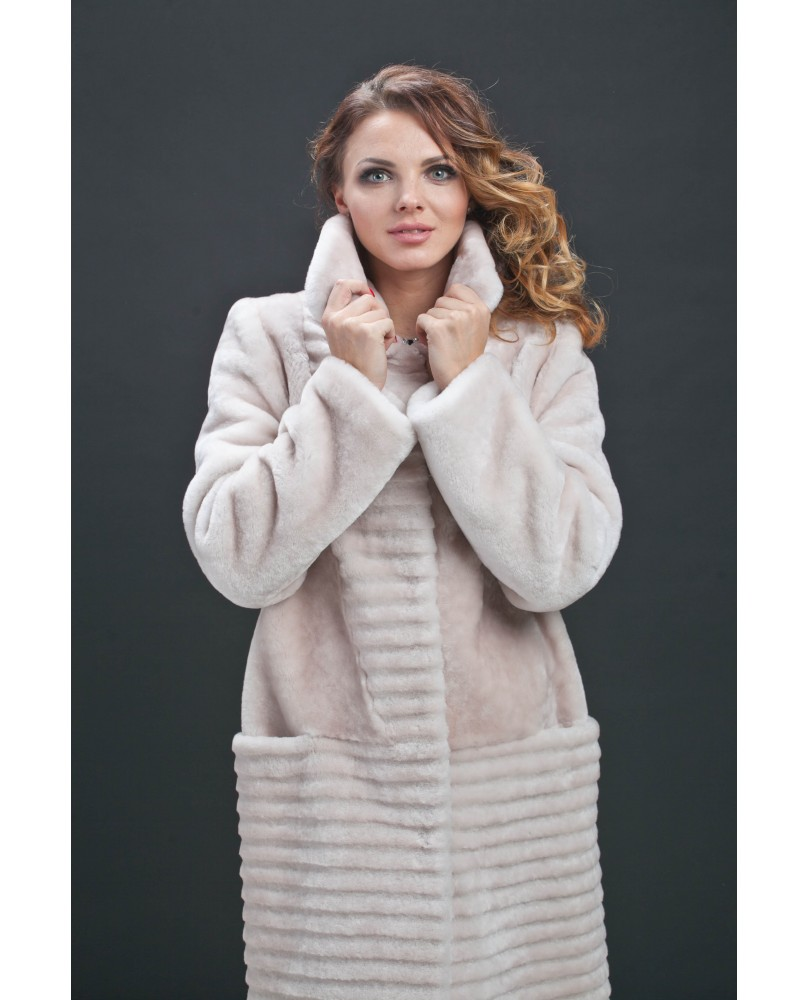 Пальто женское, модель: 21-16, мех: овчина,  цвет: кремовый