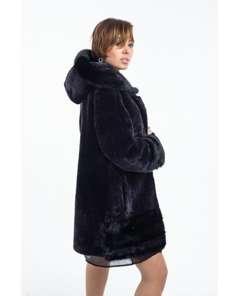 Полупальто женское, модель: 21-18, мех: овчина,  цвет: графит