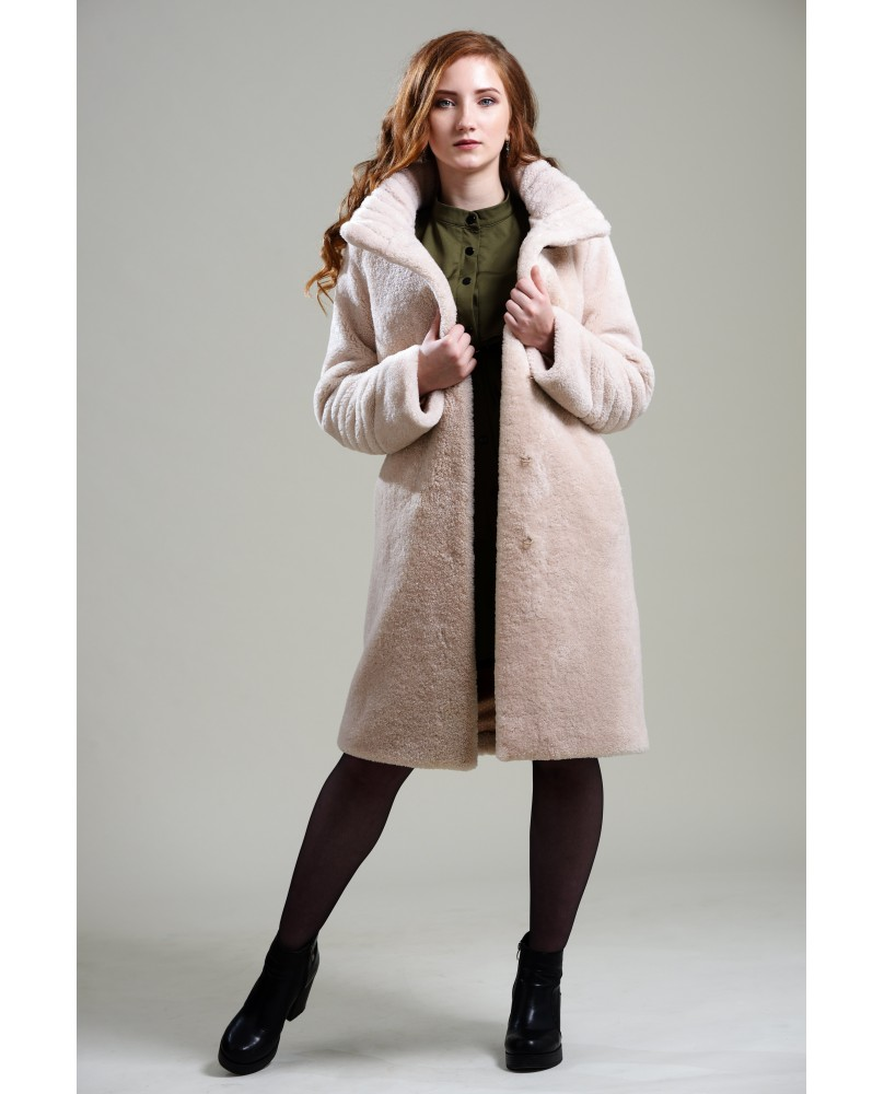 Пальто женское, модель: 21-19, мех: овчина,  цвет: кремовый