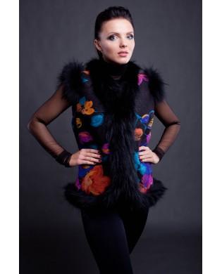 Жилет женский, модель: 22-15, мех: овчина,  цвет: фиолетовый