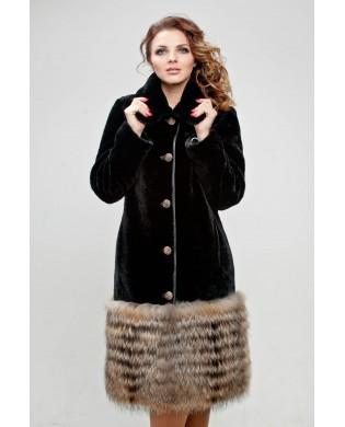 Пальто женское, модель: 22-16, мех: овчина,  цвет: коричневый