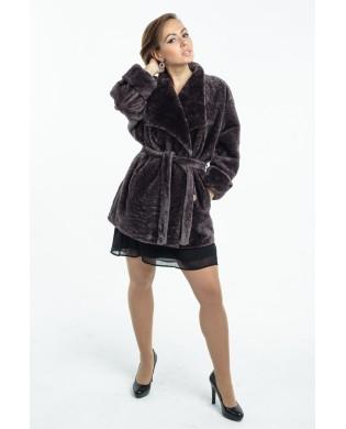 Жакет женский, модель: 22-17, мех: астраган,  цвет: коричневый