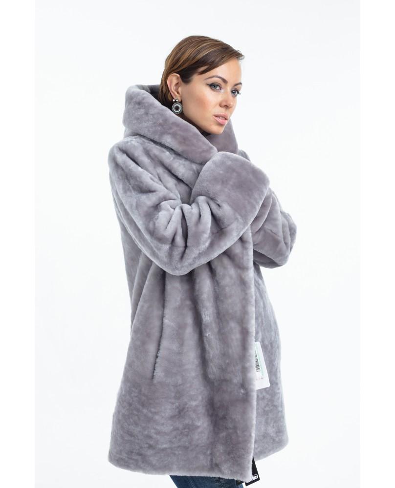 Полупальто женское, модель: 22-18, мех: овчина,  цвет: серый