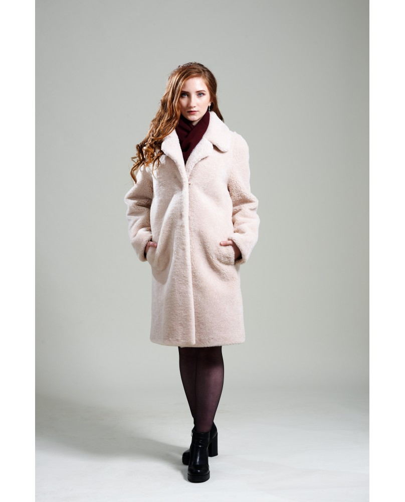 Пальто женское, модель: 22-19, мех: овчина,  цвет: кремовый