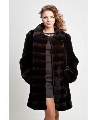 Полупальто женское, модель: 23-16, мех: овчина,  цвет: тёмно-коричневый