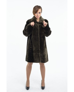 Полупальто женское, модель: 23-16, мех: овчина,  цвет: оливковый