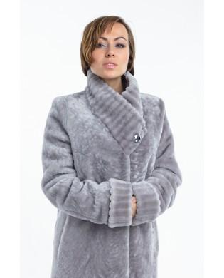 Пальто женское, модель: 23-18, мех: овчина,  цвет: серый