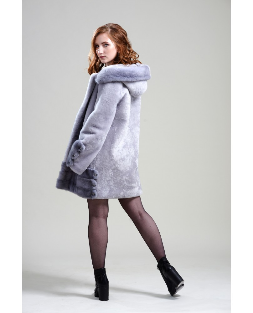 Полупальто женское, модель: 23-19, мех: овчина,  цвет: серый
