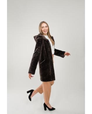 Полупальто женское, Модель: 24-19, Мех: овчина