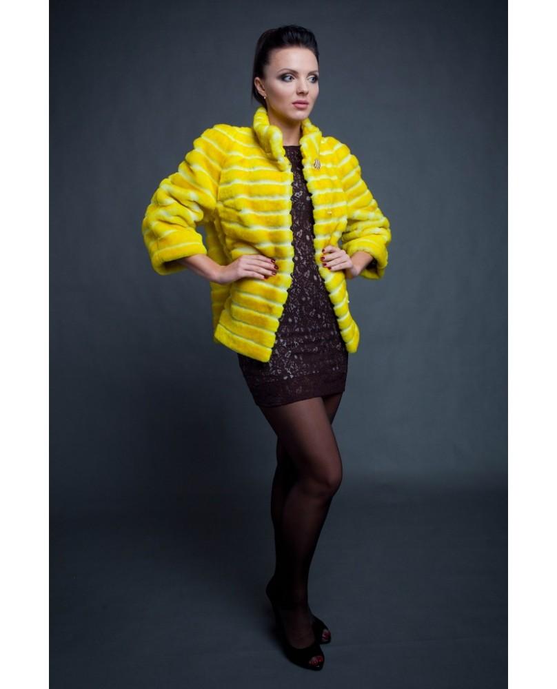 Жакет женский, модель: 25-15, мех: овчина,  цвет: жёлтый