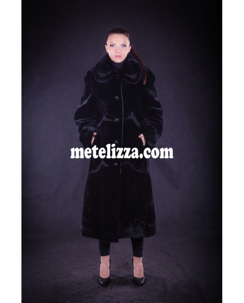 Пальто женское, модель: 28-13, мех: овчина,  цвет: чёрный