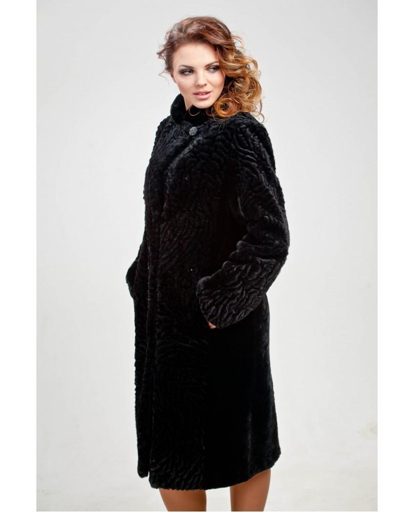 Пальто женское, модель: 29-16, мех: овчина,  цвет: чёрный