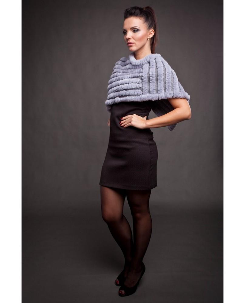 """Накидка женская, модель: 31-15МТ, мех: кролик """"рэкс"""",  цвет: серый"""