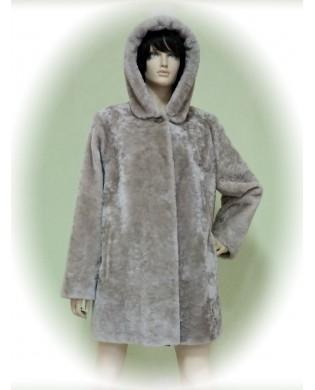 Полупальто женское, Модель:22-18, Мех: овчина